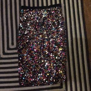 Rainbow glitter sequin pencil midi skirt